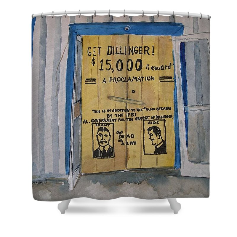 Building Shower Curtain featuring the painting Get Dillinger by Patricia Caldwell