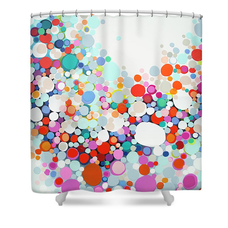 Abstract Shower Curtain featuring the painting Get Home Late by Claire Desjardins