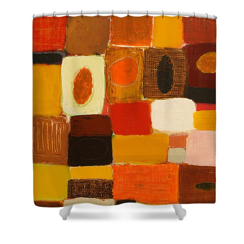 Abstract Shower Curtain featuring the painting Get Together by Habib Ayat