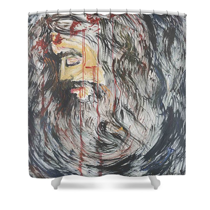 Jesus Shower Curtain featuring the painting Gethsemane To Golgotha IIi by Nadine Rippelmeyer