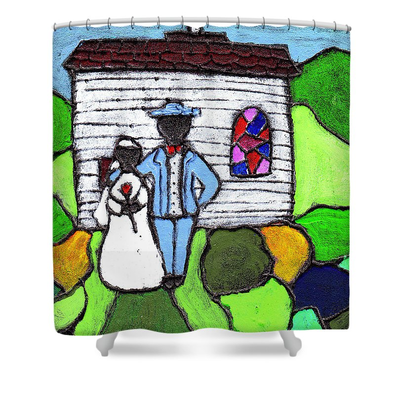 Folk Art Shower Curtain featuring the painting Getting Married Today by Wayne Potrafka