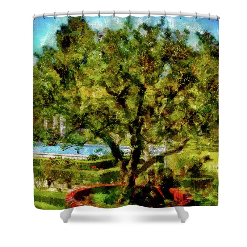 Attraction Shower Curtain featuring the mixed media Getty Villa Landscape by Joseph Hollingsworth