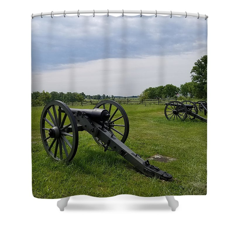 Gettysburg Shower Curtain featuring the photograph Gettysburg Battlefield Cannons by Judith Rhue