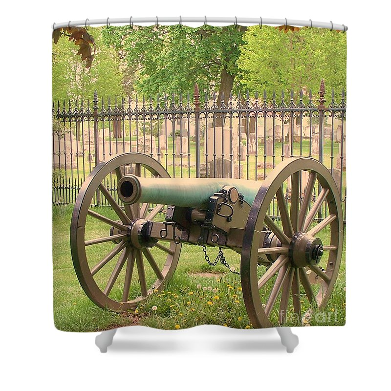 Gettysburgs Shower Curtain featuring the painting Gettysburg Cannon Cemetery Hill by Eric Schiabor