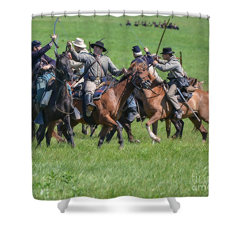 150th Shower Curtain featuring the photograph Gettysburg Cavalry Battle 7948c by Cynthia Staley