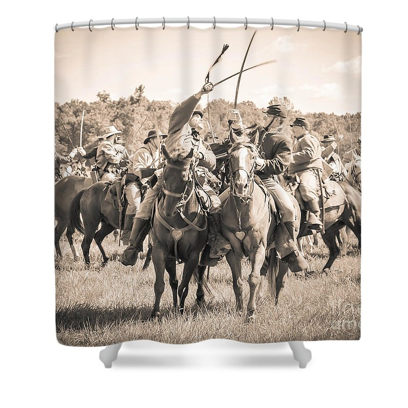 150th Shower Curtain featuring the photograph Gettysburg Cavalry Battle 7992s by Cynthia Staley