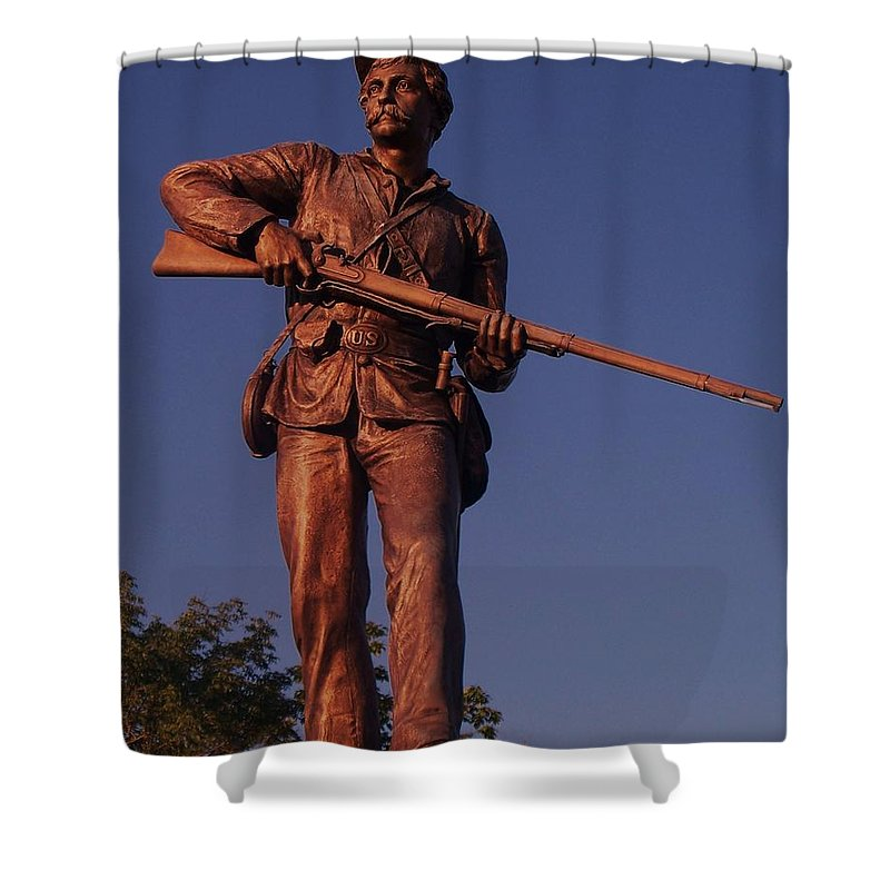 Gettysburg Shower Curtain featuring the photograph Gettysburg Statue by Eric Schiabor