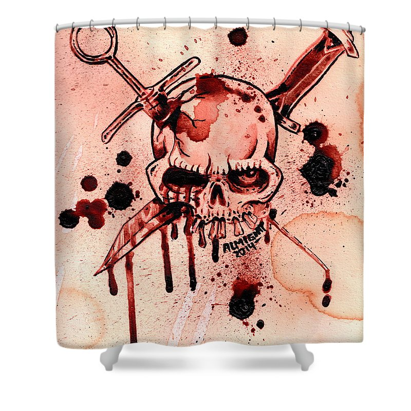 Shower Curtain Featuring The Painting Gg Allin Murder Junkies Logo By Ryan Almighty