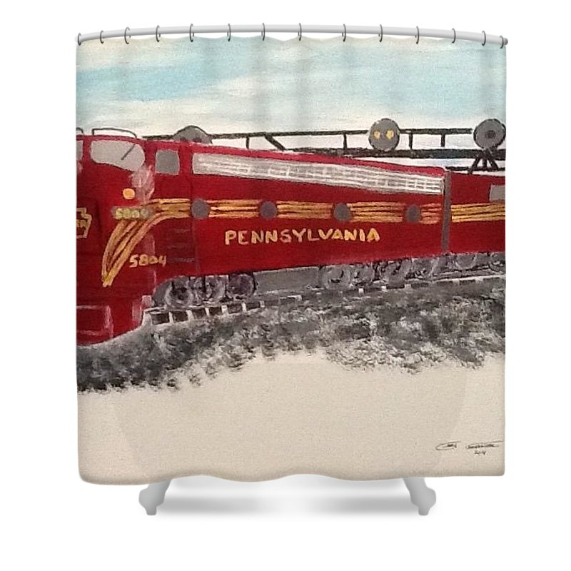 Gg1 Shower Curtain featuring the painting Gg1 Pennsylvania by Gary Carpenter