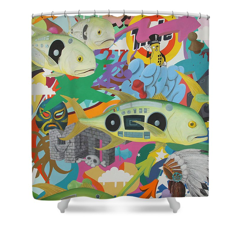 Jack Shower Curtain featuring the painting Ghettoblasters by Mutt Hubbard