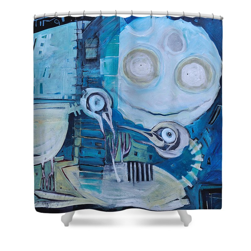 Bird Shower Curtain featuring the painting Ghost Birds At Play by Tim Nyberg