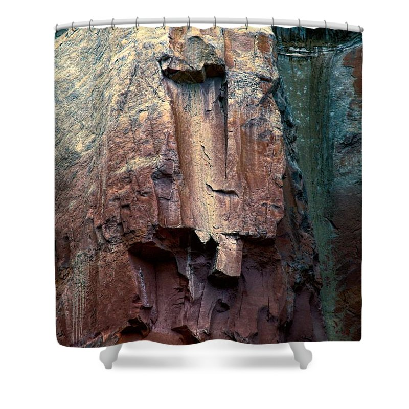 Cliff Shower Curtain featuring the photograph Ghost Cliff Abstract by Jim Buchanan