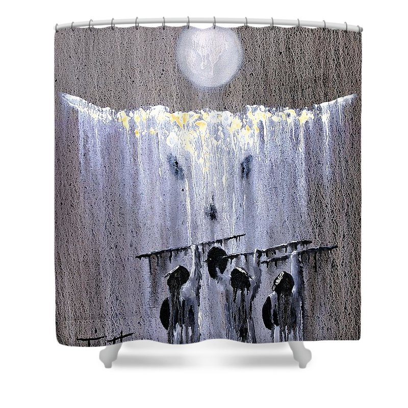 American Indian Shower Curtain featuring the painting Ghost Dance by Patrick Trotter