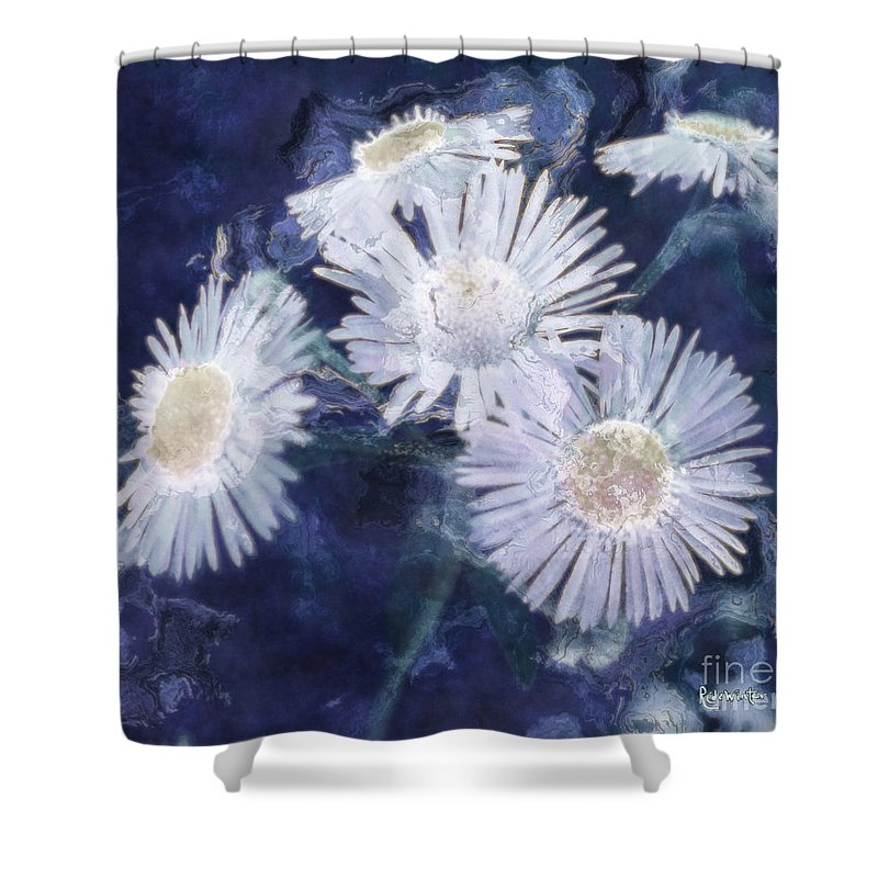 Asters Shower Curtain featuring the painting Ghost Flowers by RC deWinter