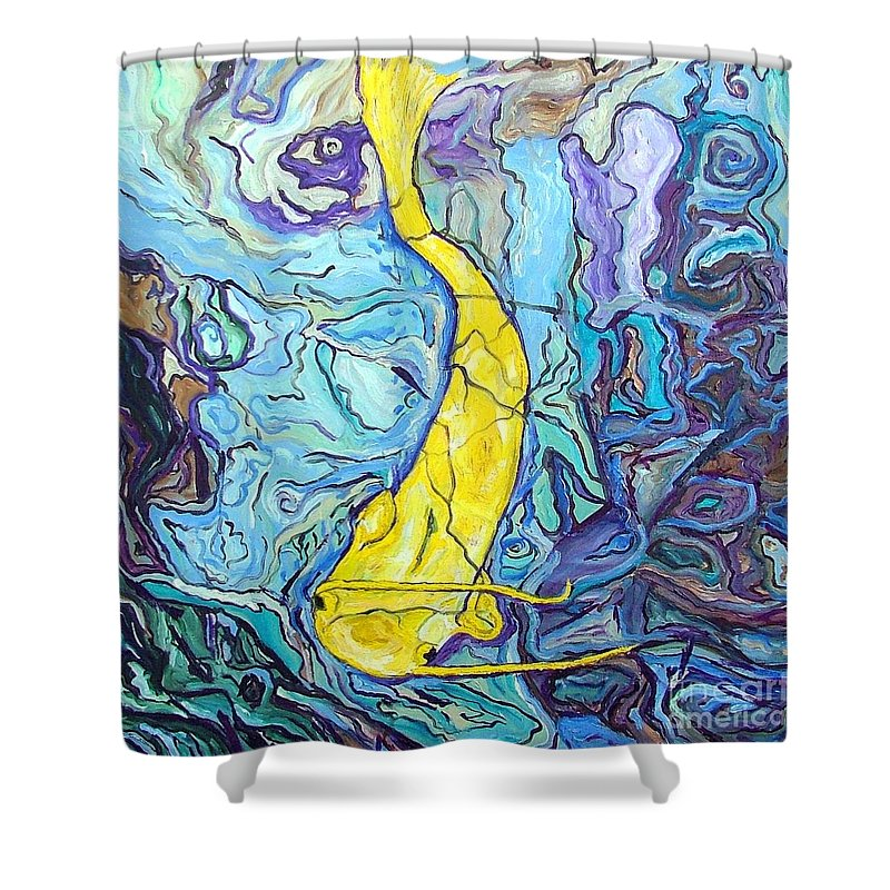 Koi Fish Shower Curtain Featuring The Painting Ghost Carp Oil On Canvas By Heather