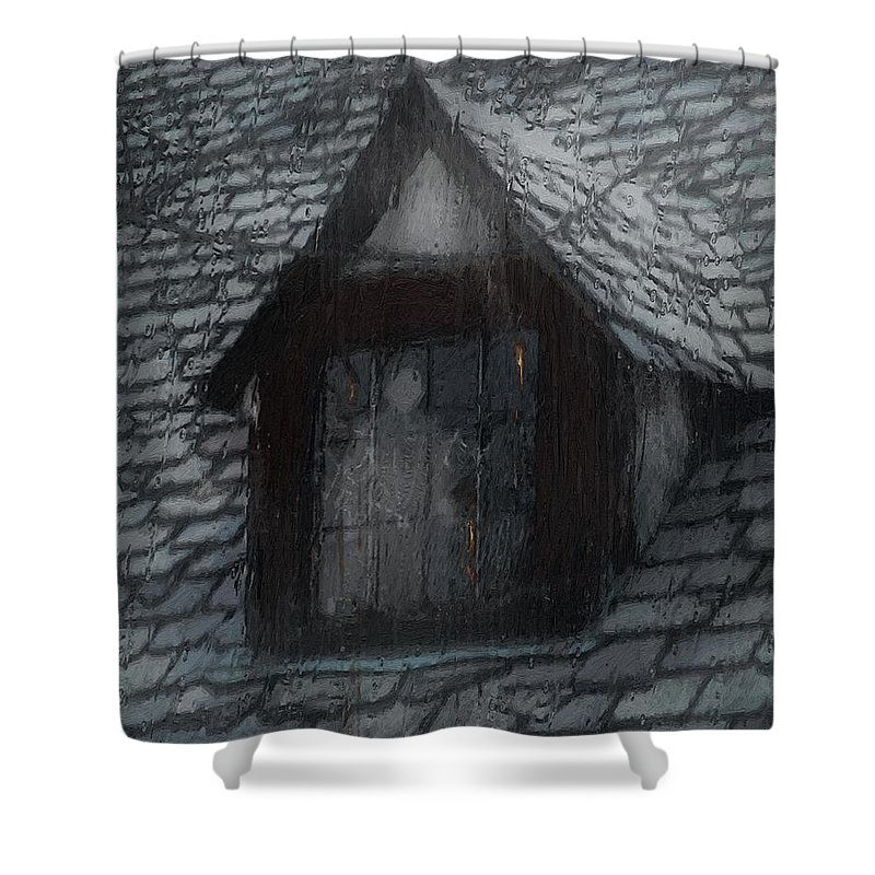 Ghost Shower Curtain featuring the painting Ghost Rain by RC DeWinter