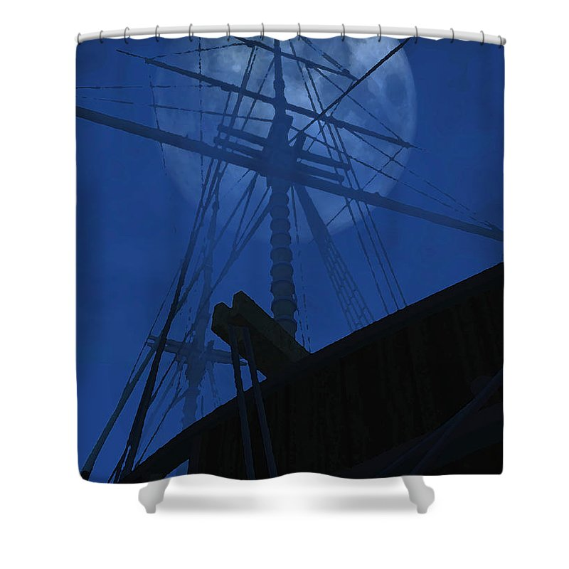 Ghost Ship Shower Curtain featuring the digital art Ghost Ship by Richard Rizzo