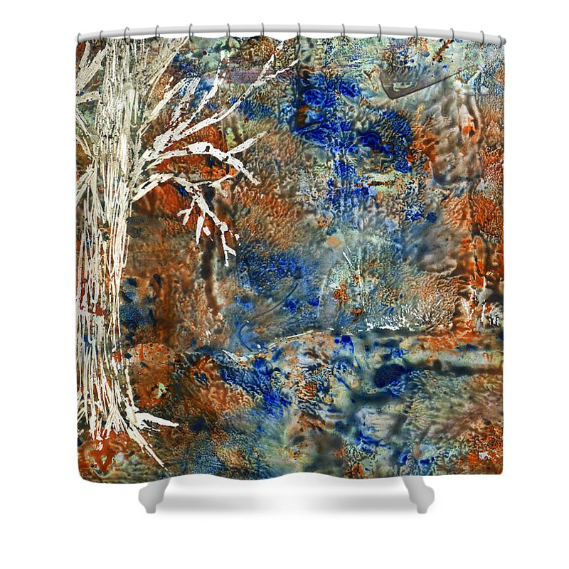 Trees Shower Curtain featuring the painting Ghost Trees by Wayne Potrafka