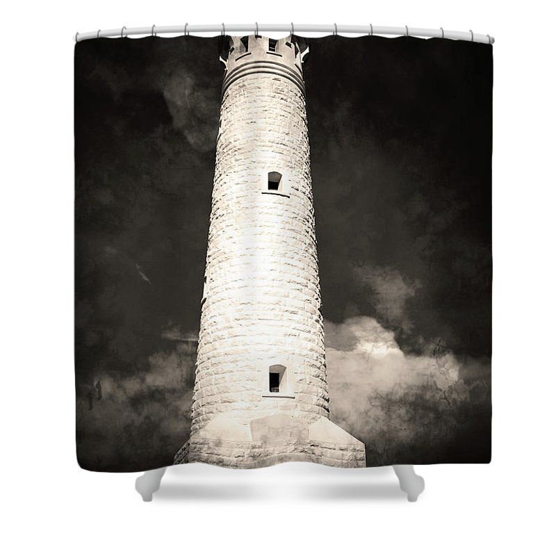 Light Shower Curtain featuring the photograph Ghostly Lighthouse by Phill Petrovic
