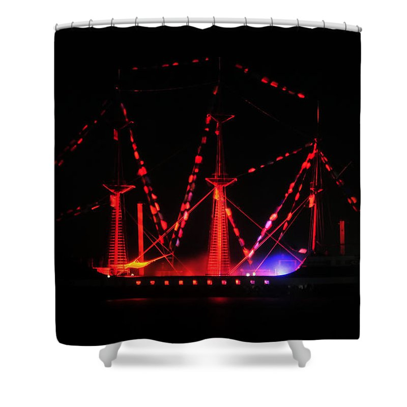 Ship Shower Curtain featuring the photograph Ghosts Of Gasparilla by David Lee Thompson