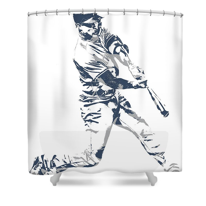 Giancarlo Stanton Shower Curtain Featuring The Mixed Media New York Yankees Pixel Art 3