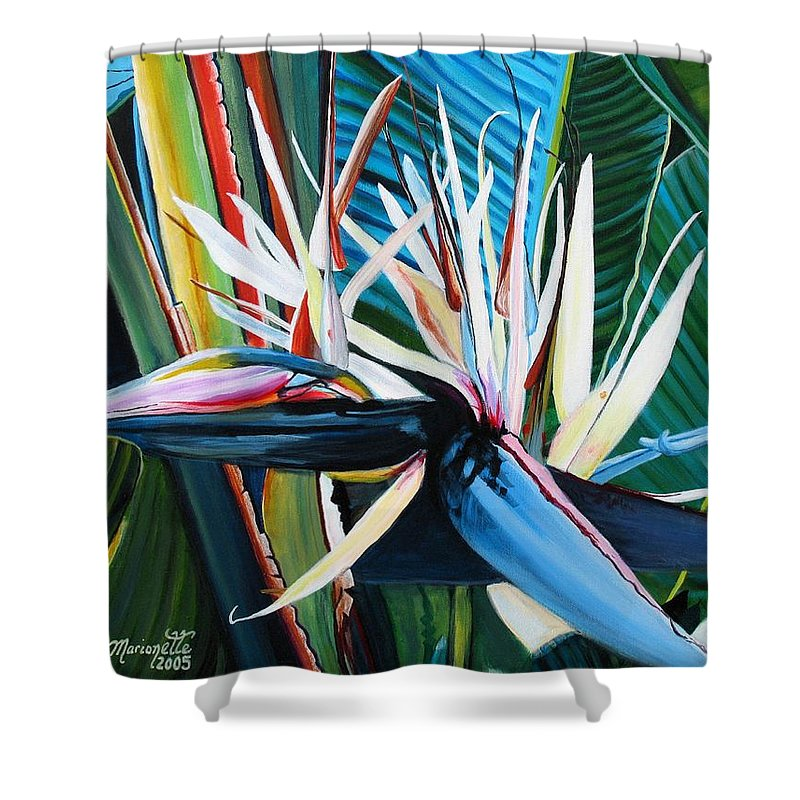 Bird Shower Curtain featuring the painting Giant Bird Of Paradise by Marionette Taboniar