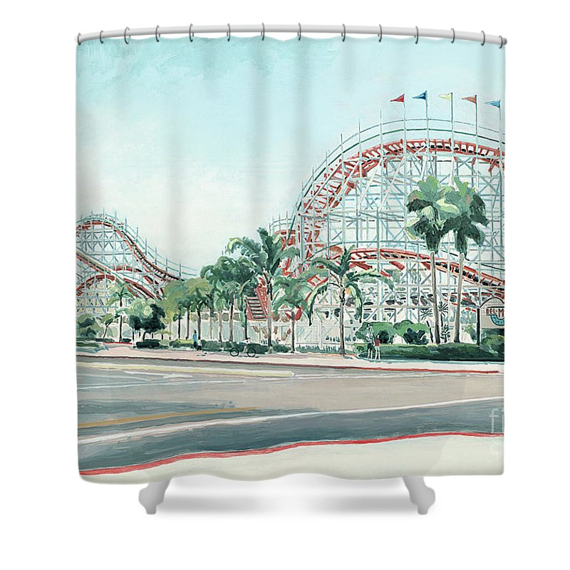 Giant Dipper Shower Curtain Featuring The Painting At Belmont Park Mission Beach