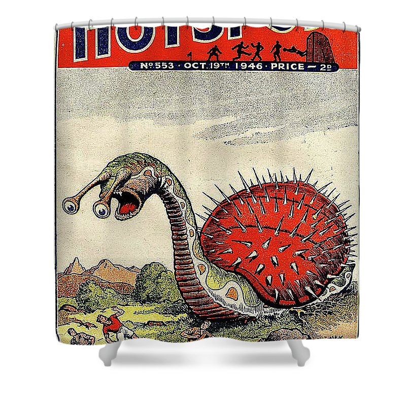 Giant Monster Snail Vintage Sci Fi Comic Book Cover Shower Curtain
