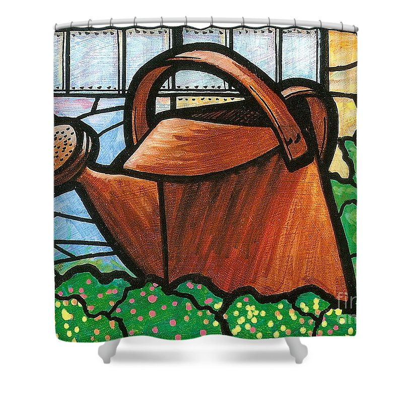 Gardening Shower Curtain featuring the painting Giant Watering Can Staunton Landmark by Jim Harris