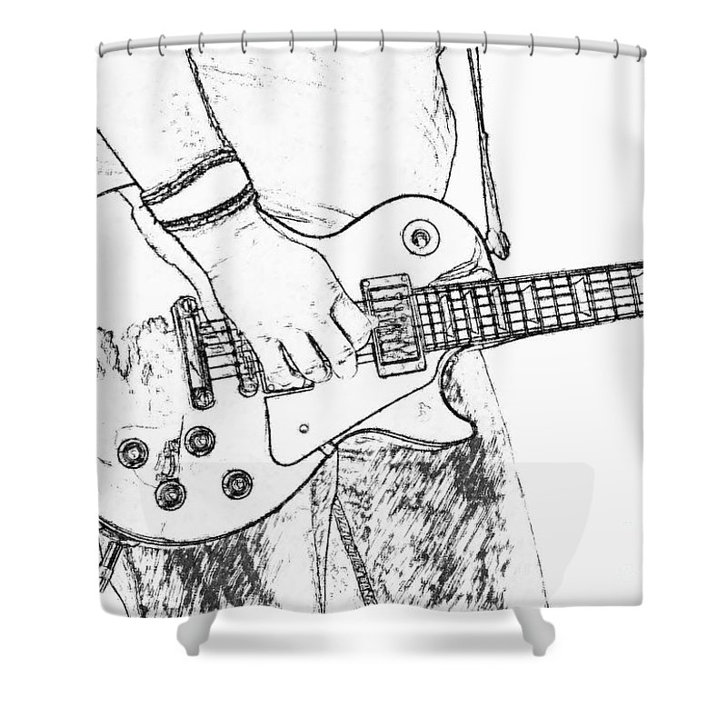 Gibson Les Paul Guitar Sketch Shower Curtain for Sale by Randy Steele