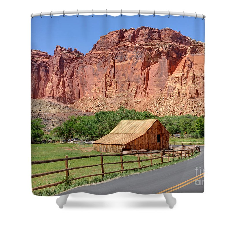 Utah Shower Curtain featuring the photograph Gifford Homestead Barn - Capitol Reef National Park by Gary Whitton