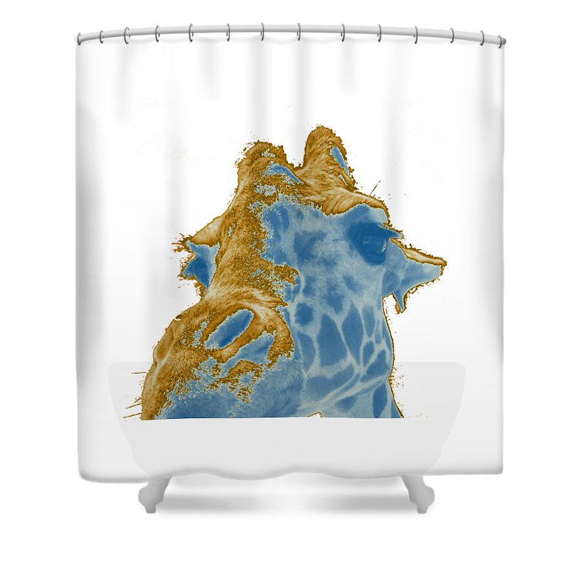 Giraffe Shower Curtain featuring the photograph Gilded Giraffe by Elyza Rodriguez