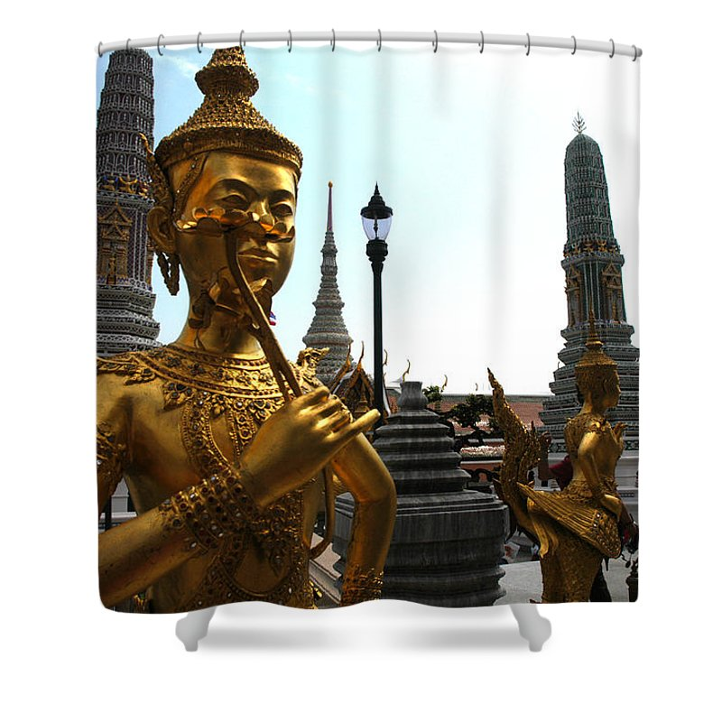 Grand Palace Shower Curtain featuring the photograph Gilded Statues Of Gods At The Grand by Anne Keiser