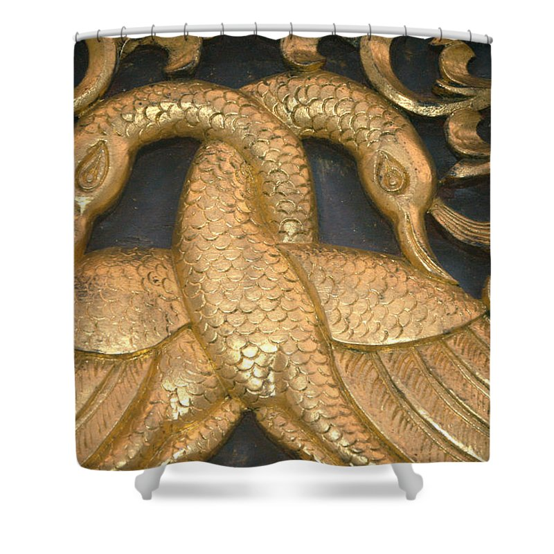 Wat Phra That Jom Kitti Temple Shower Curtain featuring the photograph Gilded Temple Carving Of Geese by Anne Keiser