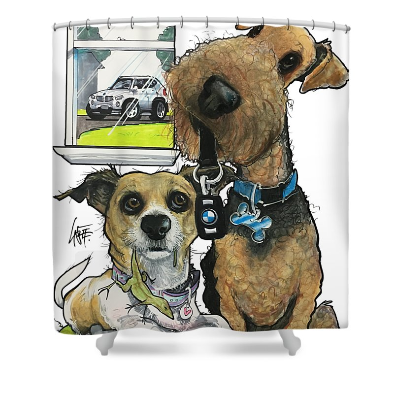 Airedale Terrier Shower Curtain featuring the drawing Gilfor 3858 by John LaFree