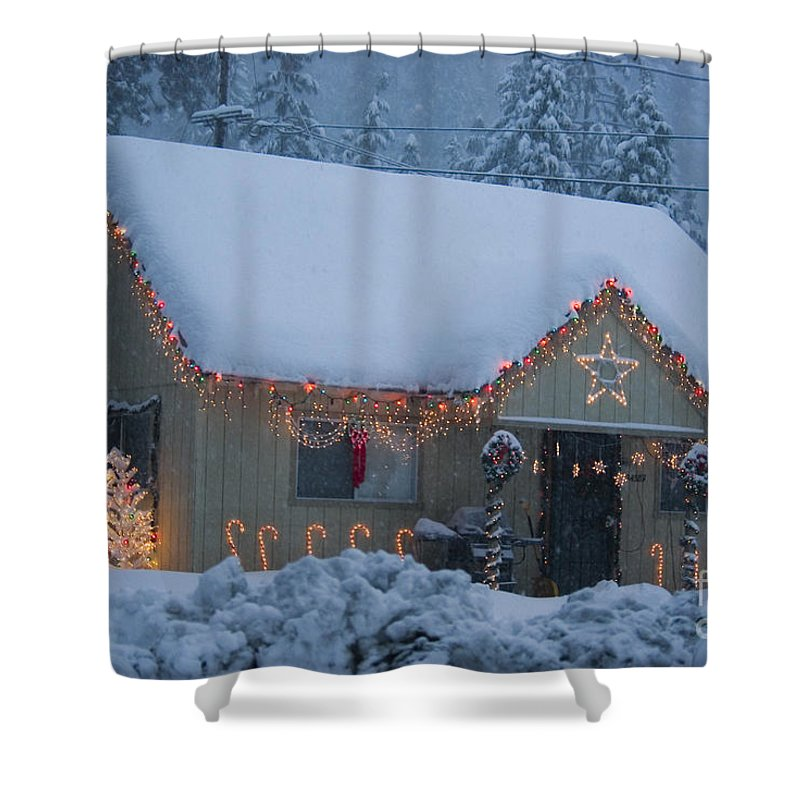 Snow Shower Curtain featuring the photograph Gingerbread House In Snow by Jim And Emily Bush