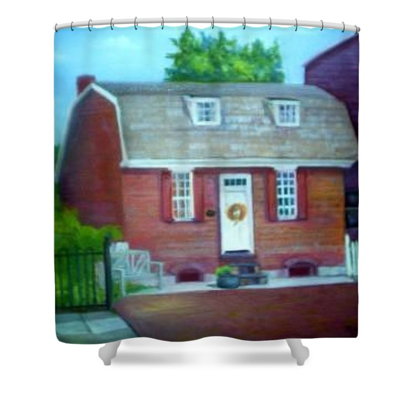 Revell House Shower Curtain featuring the painting Gingerbread House by Sheila Mashaw