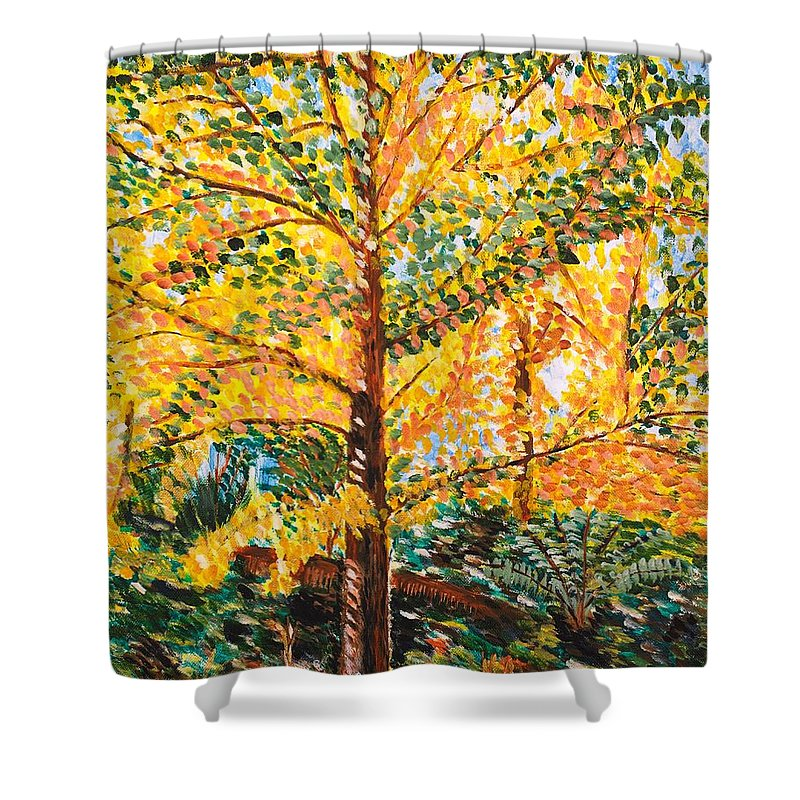 Tree Shower Curtain featuring the painting Gingko Tree by Valerie Ornstein