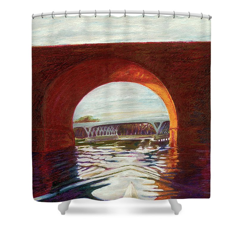 Philadelphia Art Shower Curtain featuring the painting Girard Avenue Bridge by Rosemarie D'Alba