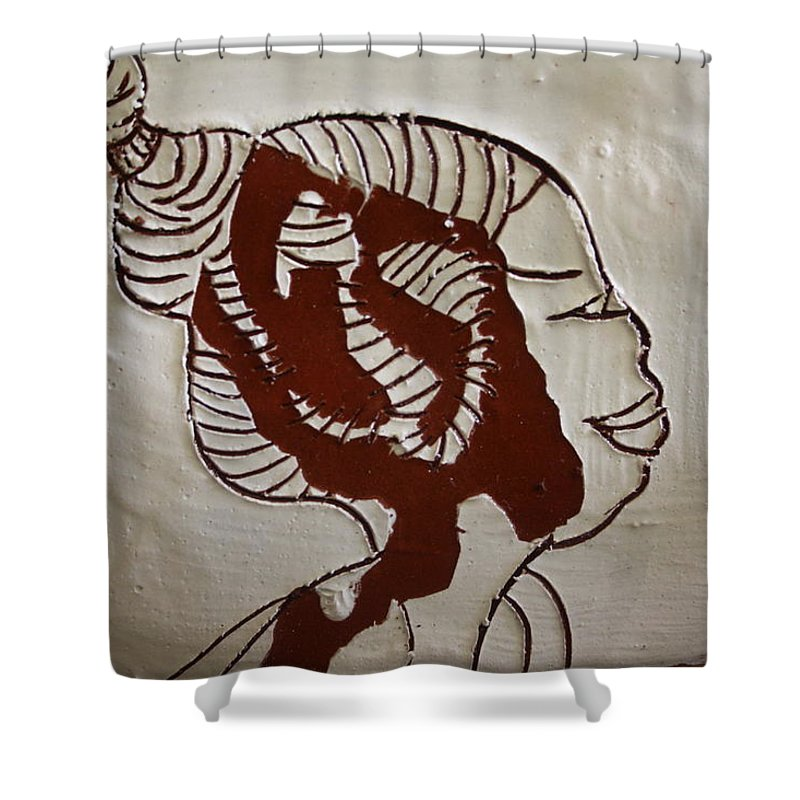 Jesus Shower Curtain featuring the ceramic art Girl - Tile by Gloria Ssali