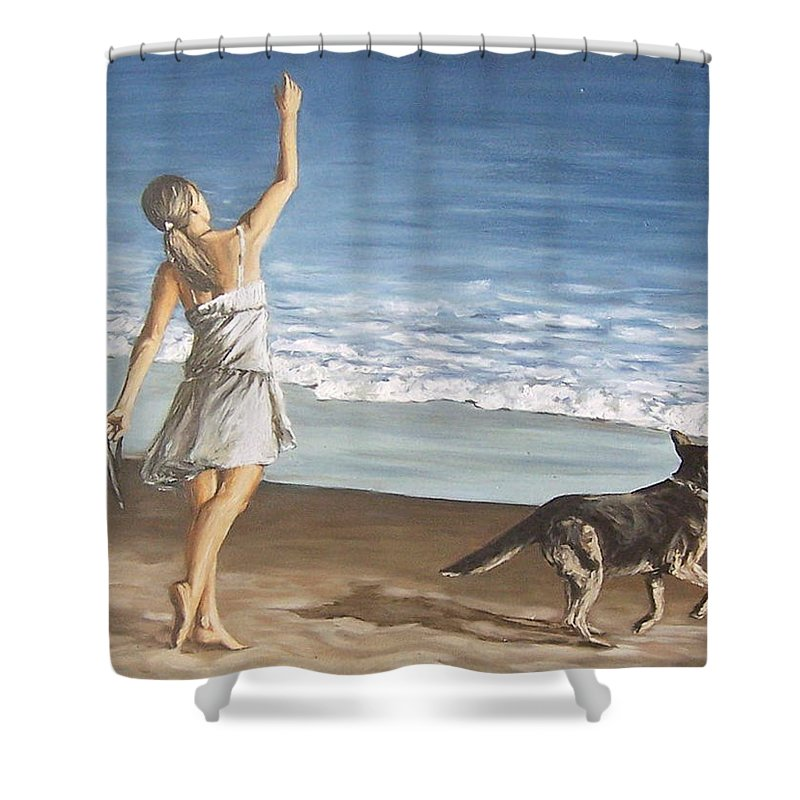Portrait Girl Beach Dog Seascape Sea Children Figure Figurative Shower Curtain featuring the painting Girl And Dog by Natalia Tejera