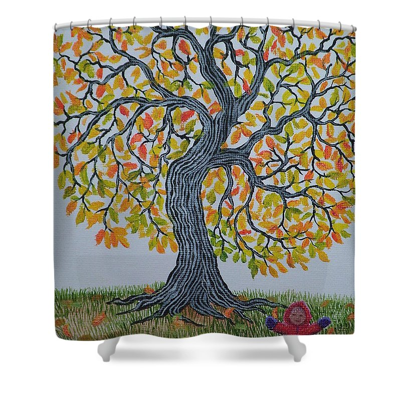 Girl Shower Curtain featuring the painting Girl And Leafs by Nick Gustafson