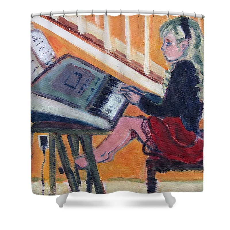 Girl With Piano Shower Curtain featuring the painting Girl At Keyboard by Betty Pieper