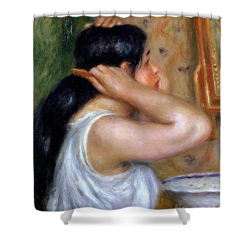 Girl Shower Curtain featuring the painting Girl Combing Her Hair by Pierre Auguste Renoir