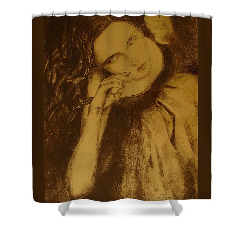 Art Drawings Shower Curtain featuring the drawing Girl Dancing by Cristina Rettegi