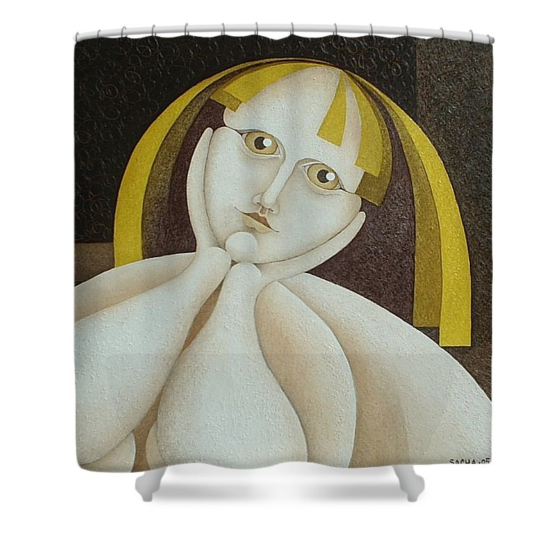 Sacha Circulism Circulismo Shower Curtain featuring the painting Girl From Chile  2005 by S A C H A - Circulism Technique