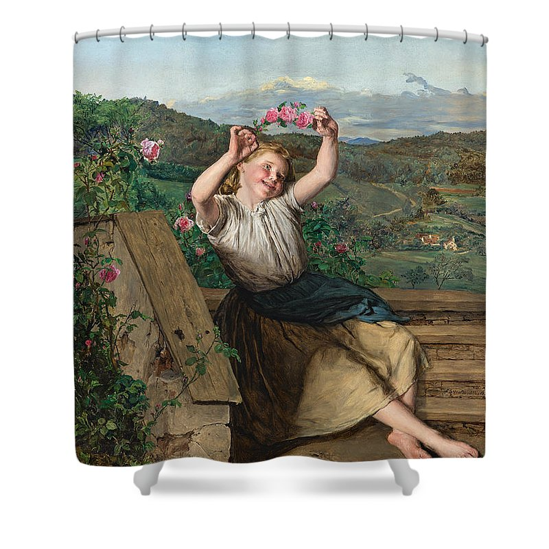 Ferdinand Georg Waldm�ller Shower Curtain featuring the painting Girl Holding Up A Wreath Of Roses by Ferdinand Georg Waldmuller