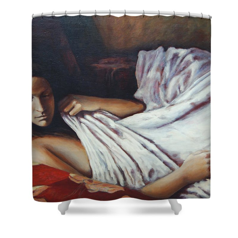 Girl Shower Curtain featuring the painting Girl In A Red Chair by Rick Nederlof