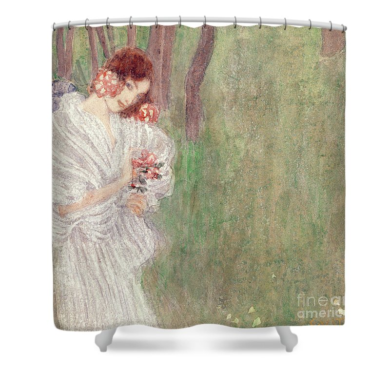 Klimt Shower Curtain Featuring The Painting Girl In A White Dress Standing Forest By