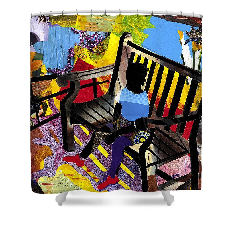 Everett Spruill Shower Curtain featuring the painting Girl In Red Shoes by Everett Spruill